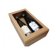 Natūraliai rudos spalvos vyno dėžė buteliams guldyti