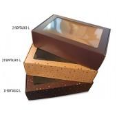 Dėžė su langeliu su ruda spauda