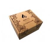 Dėžutė žvakei su spauda ant rudo kartono