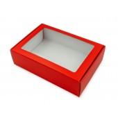 A4 gaveeske med et vindu og hvite snøflak